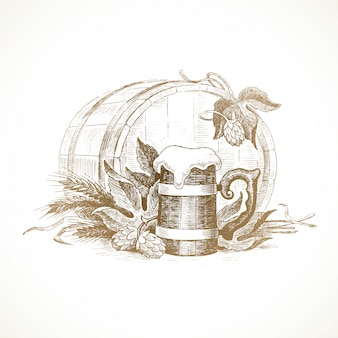 Illustration dessinée à la main - nature morte avec houblon, chope de bière et de blé