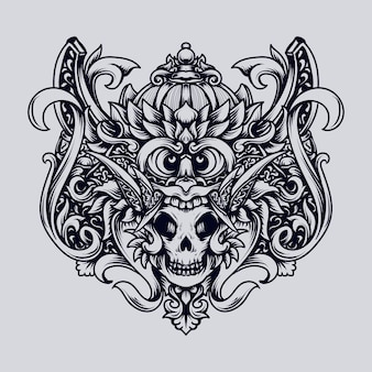 Illustration dessinée à la main noir et blanc ornement de gravure de crâne barong