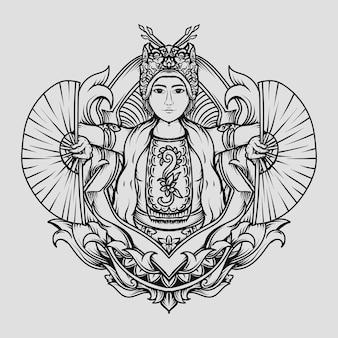 Illustration dessinée à la main en noir et blanc ornement de gravure de danse traditionnelle gandrung