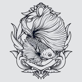 Illustration dessinée à la main noir et blanc ornement de gravure de poisson betta