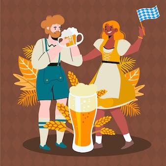 Illustration dessinée à la main des personnages de l'oktoberfest
