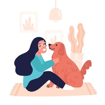 Illustration dessinée à la main de personnes avec des animaux domestiques