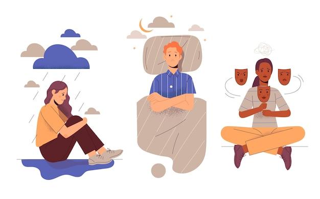Illustration dessinée à la main de personnes ayant des problèmes de santé mentale
