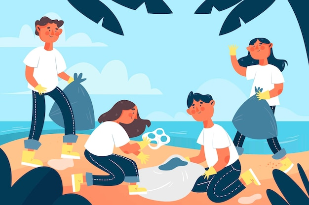 Illustration dessinée à la main de personnes nettoyant la plage