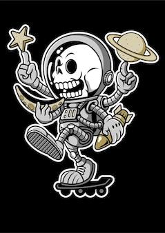 Illustration dessinée à la main de planche à roulettes astronaute