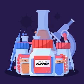 Illustration dessinée à la main plate du vaccin contre le coronavirus