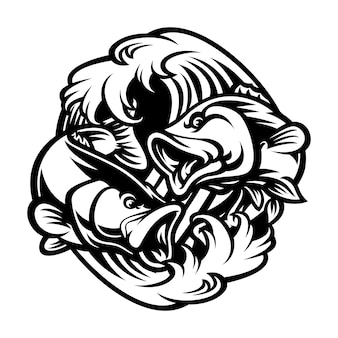 Illustration dessinée à la main de poisson noir et blanc