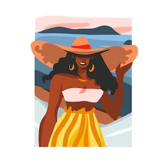 Illustration dessinée à la main avec portrait féminin de jeune beauté afro noire heureuse, en maillot de bain et chapeau sur la scène de la plage sur fond blanc