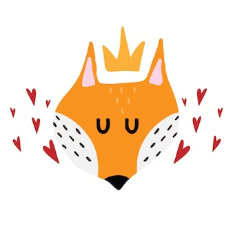 Illustration dessinée à la main pour enfants d'un visage de renard roux avec couronne et coeurs