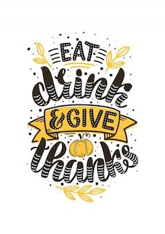 Illustration dessinée à la main pour le jour de thanksgiving