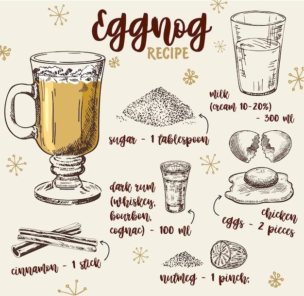 Illustration dessinée à la main de la recette de lait de poule avec liste d'ingrédients. recette de lait de poule de boissons chaudes, ingrédients.