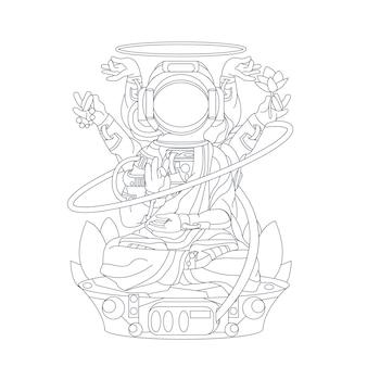 Illustration dessinée à la main de la religion de bouddha astronaute