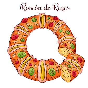 Illustration dessinée à la main roscón de reyes