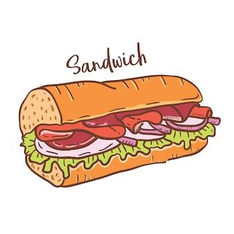 Illustration dessinée à la main de sandwich.