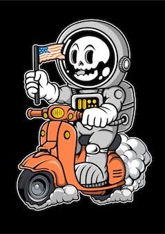 Illustration dessinée à la main de scooter d'équitation astronaute