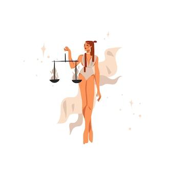 Illustration dessinée à la main avec signe astrologique du zodiaque balance avec femme magique de beauté