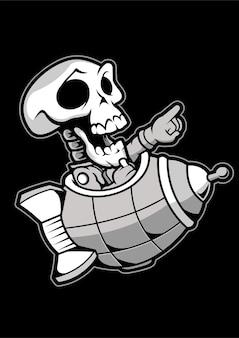 Illustration dessinée à la main skull rocket