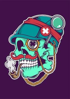 Illustration dessinée à la main skull smokin