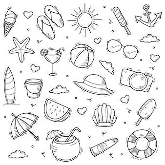 Illustration dessinée à la main de style art ligne doodle été