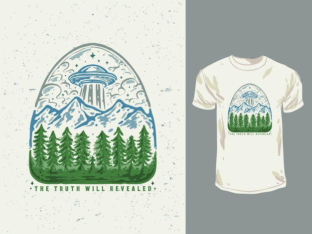 Illustration dessinée à la main de t-shirt ufo forestier