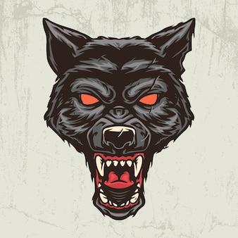 Illustration dessinée à la main tête de loup