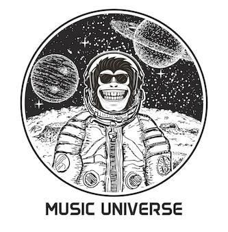 Illustration dessinée à la main de l'univers de la musique. singe drôle en lunettes de soleil et combinaison spatiale écoutant de la musique.