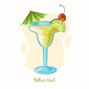 Illustration dessinée à la main de verre à cocktail oiseau jaune boisson alcoolisée