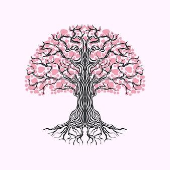 Illustration dessinée à la main de la vie de l'arbre