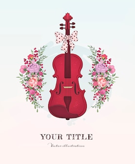 Illustration dessinée à la main de violon et de fleurs
