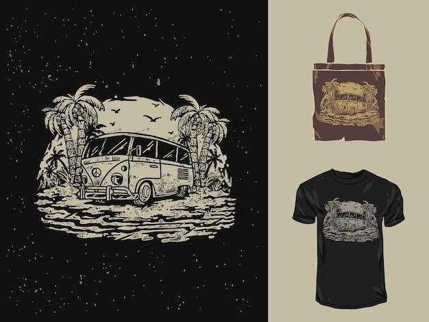 Illustration dessinée à la main de voiture combi d'été de plage vintage