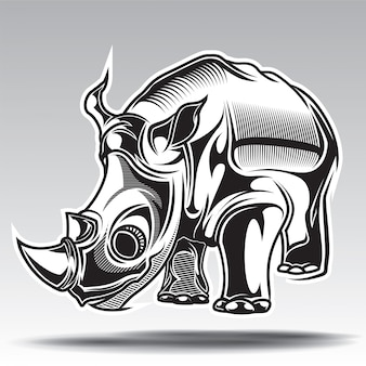 Illustration dessinée de rhino à la main avec des éléments décoratifs.