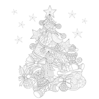 Illustration dessinée de sapin de noël à la main