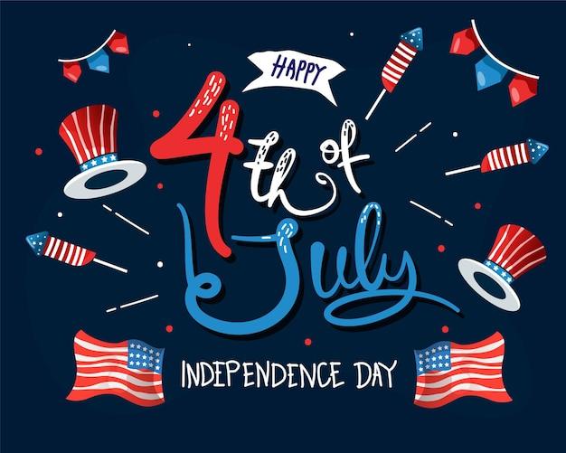 Illustration dessinés à la main le 4 juillet fête de l'indépendance