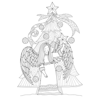 Illustration de dessinés à la main d'ange et arbre de noël