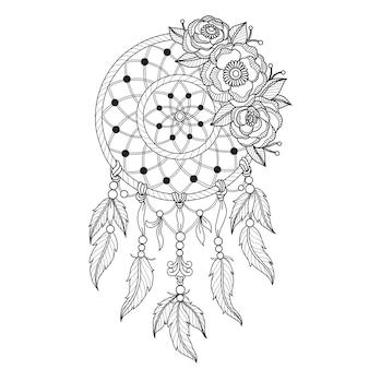 Illustration de dessinés à la main du capteur de rêves indien