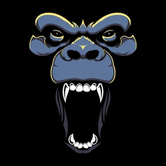 Illustration de dessinés à la main du visage angry gorilla