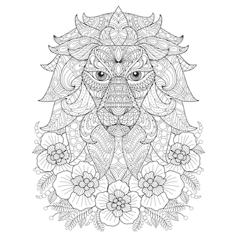 Illustration de dessinés à la main de lion dans le style zentangle