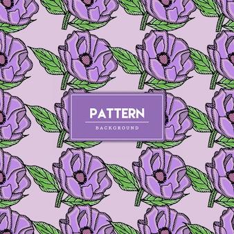 Illustration de dessinés à la main modèle sans couture de fleurs violettes