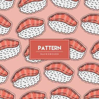 Illustration de dessinés à la main modèle sans couture nourriture sushi