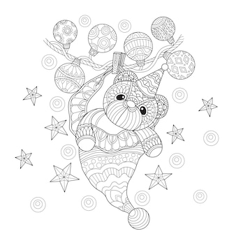 Illustration de dessinés à la main de nounours dans le style zentangle