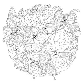 Illustration de dessinés à la main de papillon et fleur