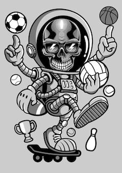 Illustration de dessinés à la main de planche à roulettes de crâne astronaute