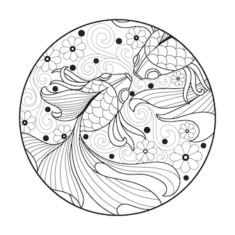 Illustration de dessinés à la main de poisson rouge dans le style zentangle