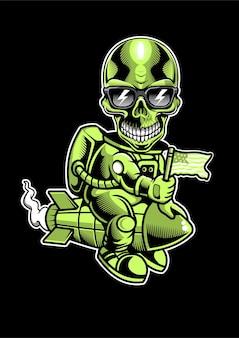 Illustration de dessinés à la main skull riding rocket