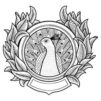 Illustration de dessins à la main de paon