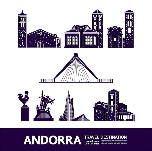 Illustration de destination de voyage andorre.