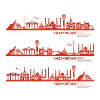 Illustration de destination de voyage au kazakhstan.