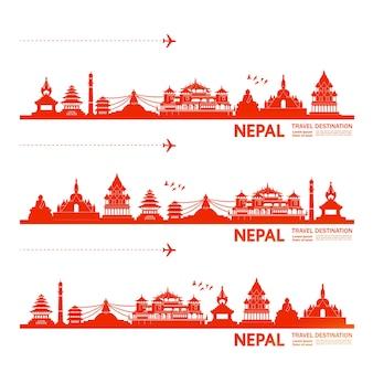 Illustration de destination de voyage au népal.