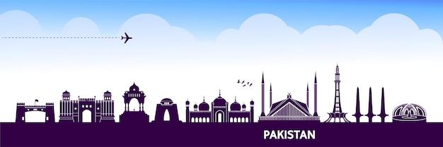 Illustration de destination de voyage au pakistan.