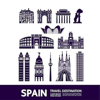 Illustration de destination de voyage en espagne.